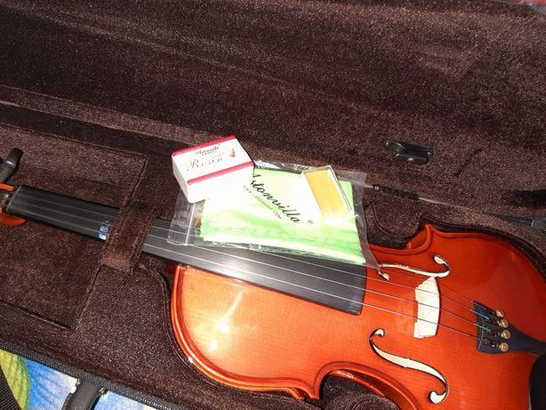 (Violin full size) Скрипка 4/4, полный размер с футляром и бантом.