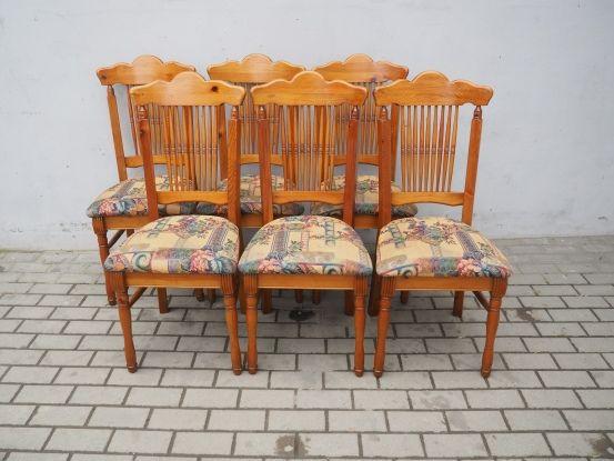 Sosnowy komplet 6 krzeseł kolonialnych 185
