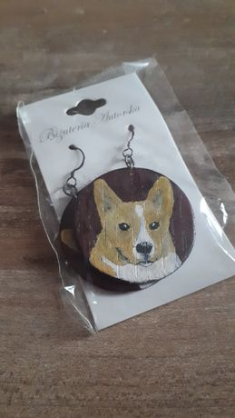 Nowe ręcznie malowane kolczyki psy corgi