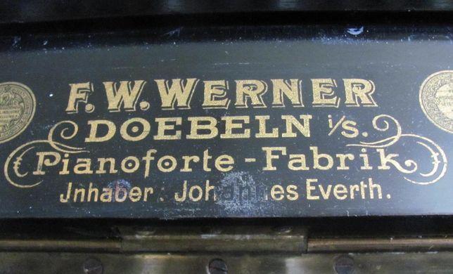 Антикварное немецкое пианино F.W.WERNER 1845 года,