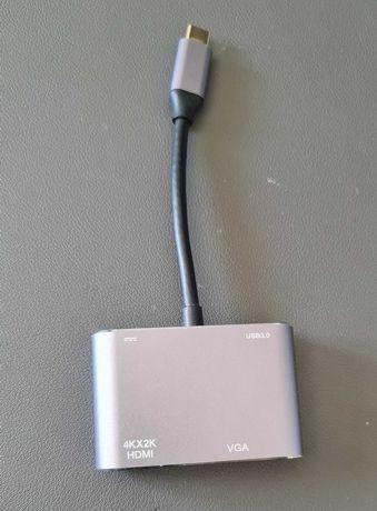 Adaptador Usb C - VGA, HDMI, Usb 3.0 e PD