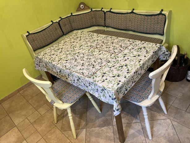 Rogówka narożnik drewniany kuchenny krzesła styl bawarski ława