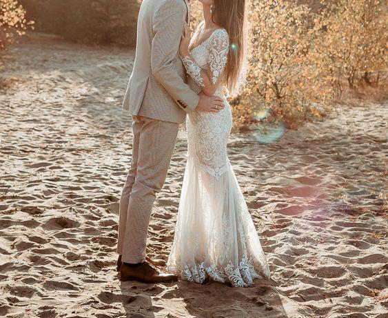 Suknia ślubna; weselna, sukienka 34, ręcznie wyszywana, tren podpinany