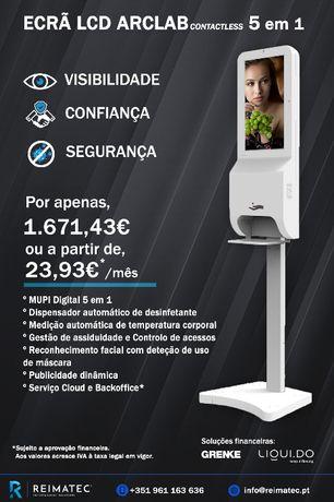 Ecrã LCD, medição de temperatura, reconhecimento facial, dispensador