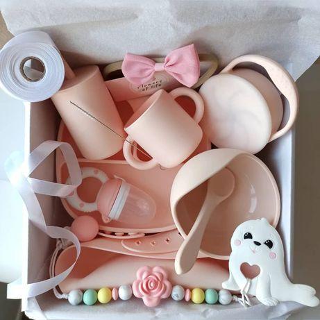 Бесплатная доставкаПодарочный набор детская посуда присоска силикон