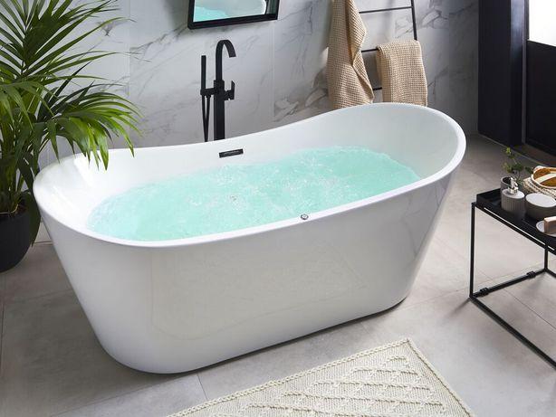 Banheira autónoma acrílica com hidromassagem e LED 180 cm branca ANTIGUA - Beliani