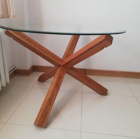 Stół, ława, szkło, dąb.