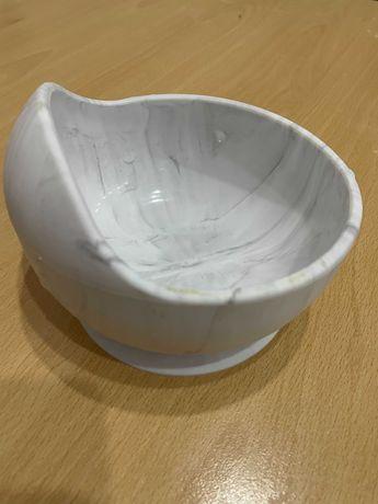 Детская силиконовая тарелка с присоской и ложка, посуда