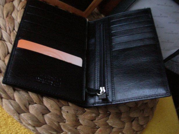 Męski biznesowy czarny portfel skórzany Castello 100% skóra NOWY