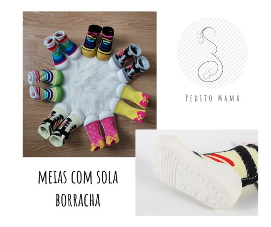Meias com Sola de Borraccha