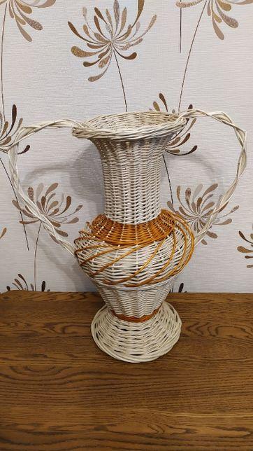 Biały wazon wiklinowy OZDOBA