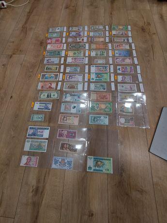 Kolekcja banknotow z różnych stron świata