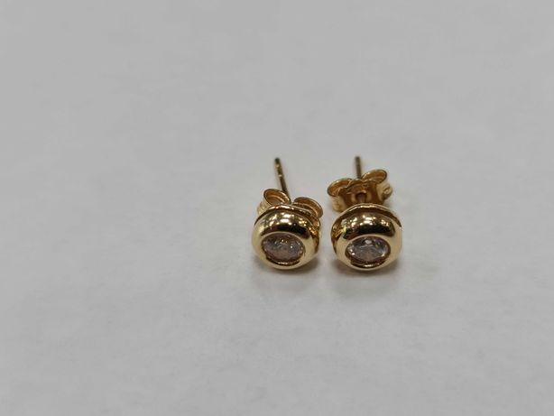 Piękne złote kolczyki damskie/ 585/ 2.06 gram/ Bezbarwne cyrkonie