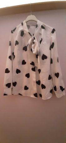 Koszula NOWA biala w czarne serca