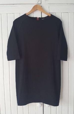 Czarna Prosta Sukienka Oversize Zip, House