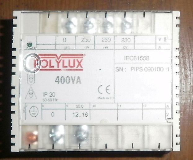 Transf. POLYLUX 400VA 230/12(14-16)V Maia - imagem 1