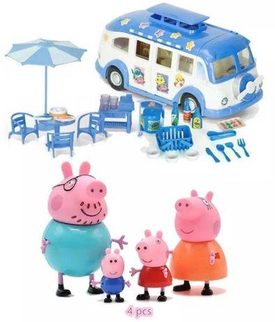 PEPPA PIG SWINKA PEPPA samochodzik auto kombi z figurkami + akcesoria