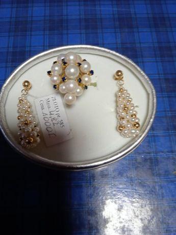 Złoty komplet z perłami pr 585