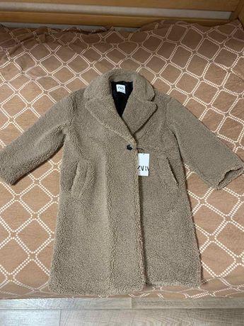 Zara пальто из искусственного меха