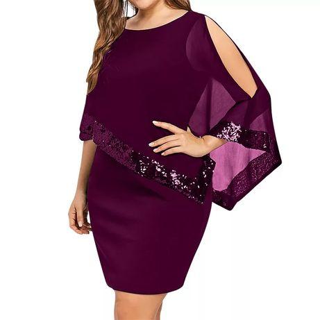 R. XXL nowa damska sukienka zakryte ramiona