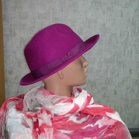 Женская фетровая шляпа размер 56-57 шерсть 100%