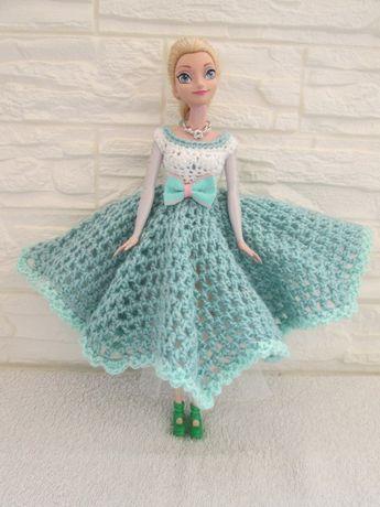 Ubranie dla lalki Barbie ELSA*Sukienka*Komplet zimowy*Buty*Akcesoria*