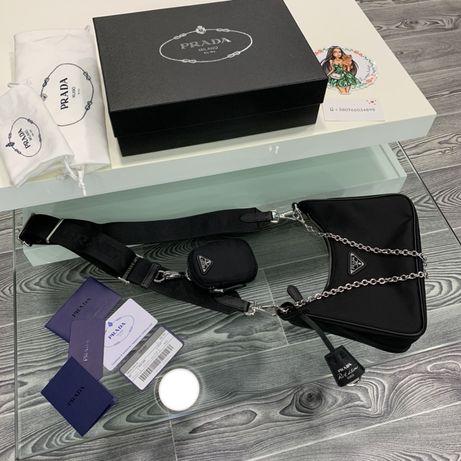 В НАЛИЧИИ Клатч сумка на цепи Prada new