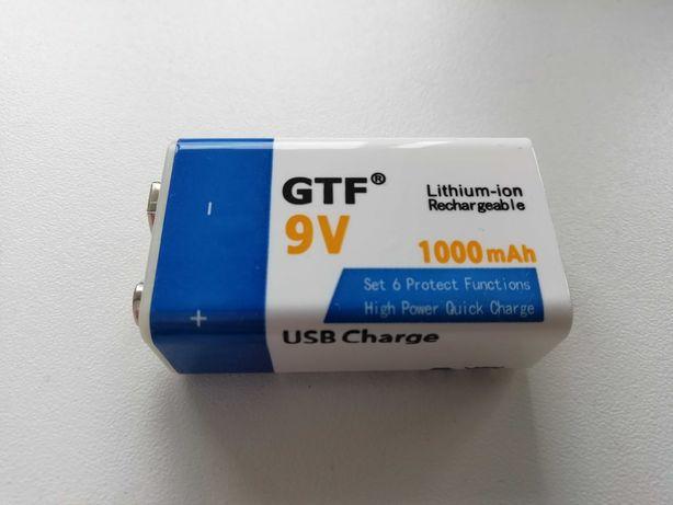 Аккумулятор GTF Крона 9в 1000mAh Li-Ion 6f22 (с разъемом microUSB)