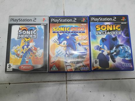 PS2 3 jogos Sonic Heroes Gems e Unleashed apenas 9€