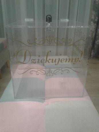 Pudełko na koperty skrzynia wesele skarbonka plexi