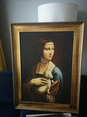 Obraz na płótnie dama z łasiczką, gronostajem, obrazy kwiaty