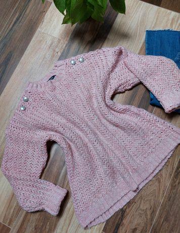 Nowy sweter pudrowy róż jodełka Mango r.38/M
