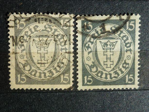 Znaczki pocztowe WMG - Danzig - Mi 198 aw i bw. Kasowane.