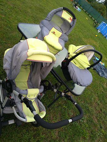 wózek 3w1 stan bdb fotelik adapter parasol torba