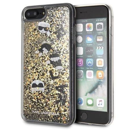 Capa Etui Karl Lagerfeld Klhci8lrogo Iphone 7/8 Plus Czarno-Złoty/Preto & Dourado Hard Glitter