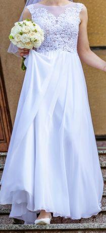 Suknia ślubna biała lejąca 36 S wzrost 170