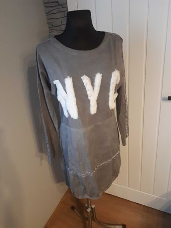 Sukienka szara oversize z lampasami