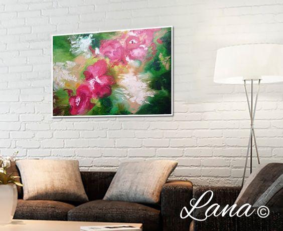 Картина маслом, холст, панно, цветы, пионы, сад, абстракции