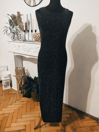 Sukienka długa błyszcząca nowa L innocence czarna