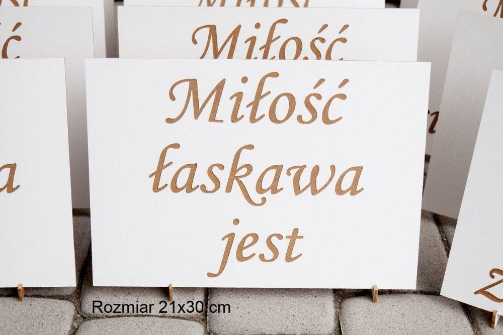 Tabliczki 21x30 cm 16szt dekoracja ślubu hymn o miłości hymnem STOJAKI Jarocin - image 1