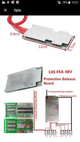 BMS PCB 13s 14s 48V 45A balanser nowy, bateria 18650 Li-ion