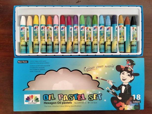 Caixa com 18 lápis de cera - Oil Pastel Set - Marca Colour Magus
