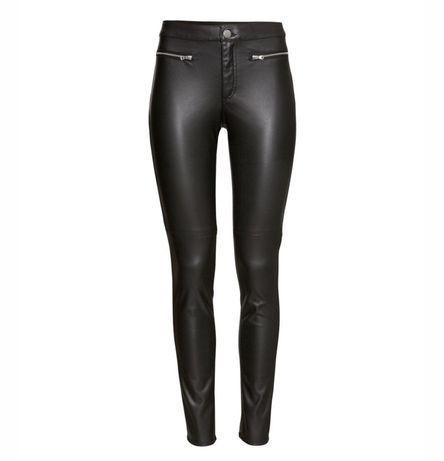 skórzane spodnie H&M z zamkami w kolorze czarnym