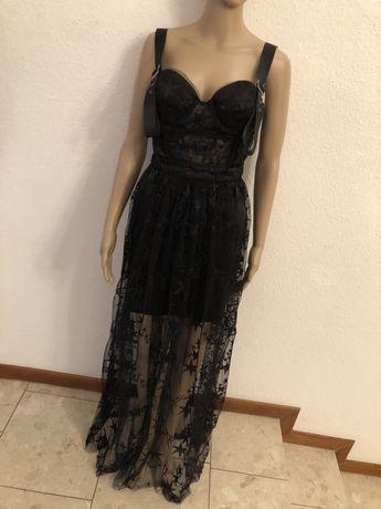 Sukienka Szyfonowa Maxi z Rozporkiem Prześwitująca Siateczka Gorsetowa