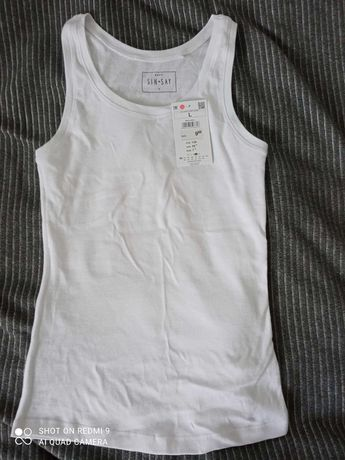 Biała koszulka na ramiączka basic Sinsay
