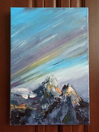 Картина маслом, горы, северное сияние