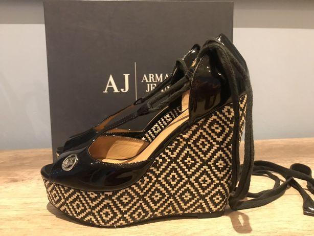 ARMANI JEANS cudne buty koturny sandały logo skóra 38 nie Guess