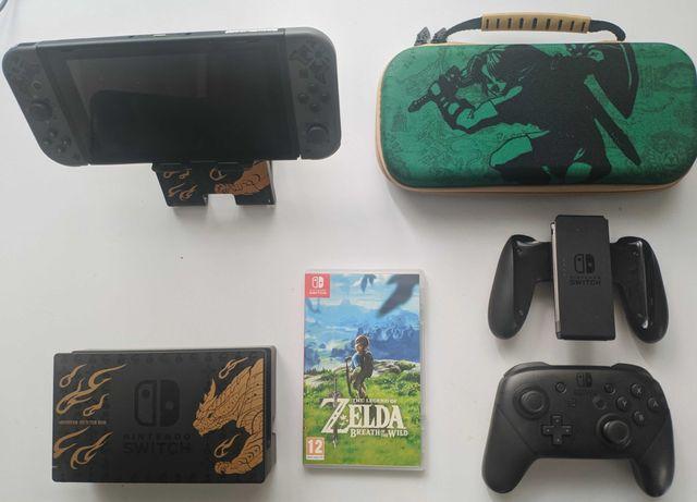 Nintendo Switch limitowana monster hunter + Zelda + Pro Controller