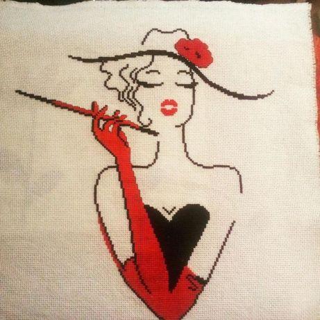 Obraz dama w kapeluszu haft krzyżykowy