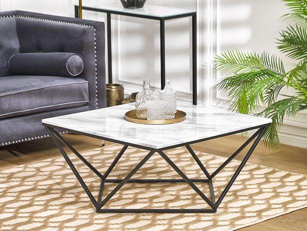 Mesa de centro com efeito de mármore branco e pés pretos MALIBU - Beliani